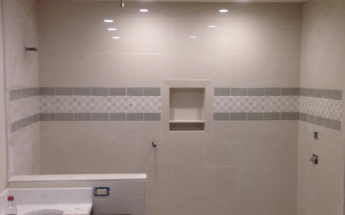 Tile shower white