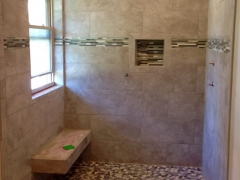 Tile shower with bench seat